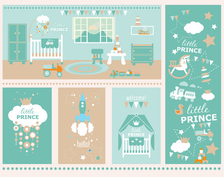 nursery room: Greeting card design with pattern. Flat style illustration. Illustration