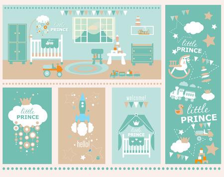 école maternelle: Salutation conception de la carte avec le modèle. Le style plat illustration.