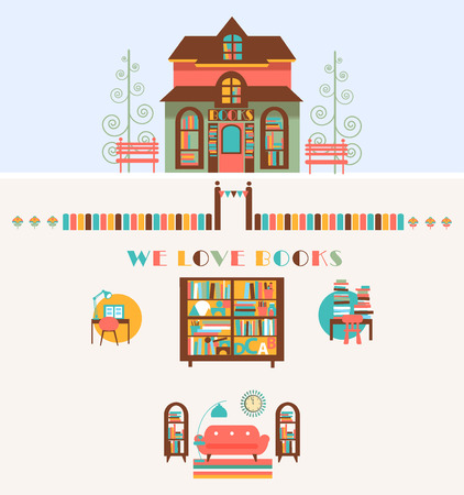 working place: Bookstore set design, Shop Store with Bookshelfs and Working Place Illustration