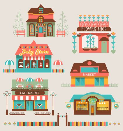 Stores and markets buildings icons set flat isolated