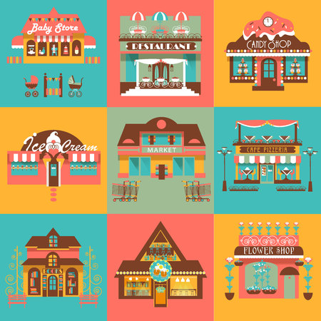 Set of  Shopes, Markets and Local Business Buildings with Design Elements and Signboards. flat illustrations Vectores