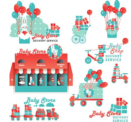 baby delivery: Cute Set of Elements for Baby Store Delivery Service Illustration