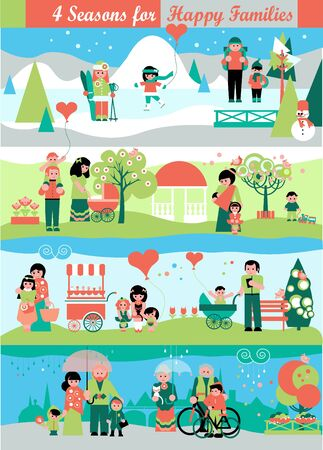 family park: Banners Set with walking people and Four Seasons Landscape Backgrounds.