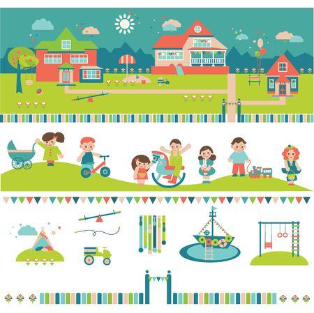 Kids, Kindergarten, Preschool and Nursery Buildings and Yard