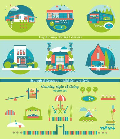 country style: Ecological Cottages and Camp Houses Vector Set. Attraction of Country Style of Living.