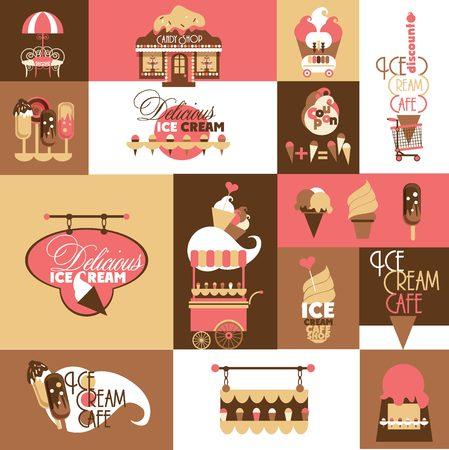 letreros: Vector Conjunto para Ice Cream Local Business con, cupones, Letreros, Tarjetas de descuento y otros elementos de dise�o