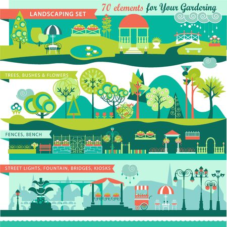 bridge in nature: Landscape Design Constructor. City, Parks and Gardens Decoration Elements and Flora Vector Set. Fences, Lightning, Trees, Pavilions, Bridges, Yards, Gardens in Flat . Vector set With 70 Objects.