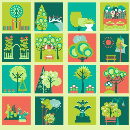 flora vector: Landscape Design Constructor. City, Parks and Gardens Decoration Elements and Flora Vector Set. Fences, Lightning, Trees, Pavilions, Bridges, Yards, Gardens in Flat . Vector set With 70 Objects.