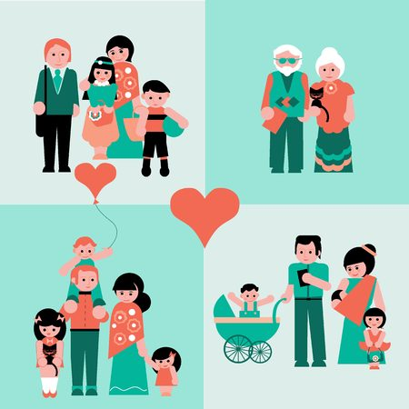 parents and children: Family figures icons set of parents, children, couple isolated vector illustration Illustration