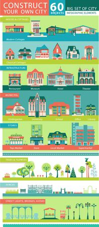 Big set with Architectural and Decorative Elements to Construct Your Own City. Municipal, Infrastructure, Cottages, Stores, Business Buildings, Trees, Fences, Street Lights. Map Creator. Illustration