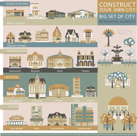 municipal: Big set with Architectural and Decorative Elements in Vintage Style. Municipal, Infrastructure, Cottages, Stores, Business Buildings, Trees, Fences, Street Lights. Map Creator.