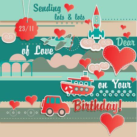 sending: Sending Lots of Love Birthday Greeting Card Template