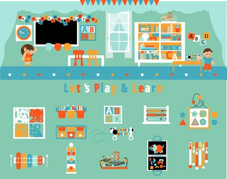early: Play and Learn, Early developing. Preschool Classroom Interior and Kids. Flat style vector illustration.