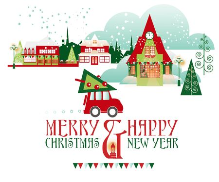 Greeting Christmas and New Year Vector Cards  with Winter Cityscape in Retro Style Vectores