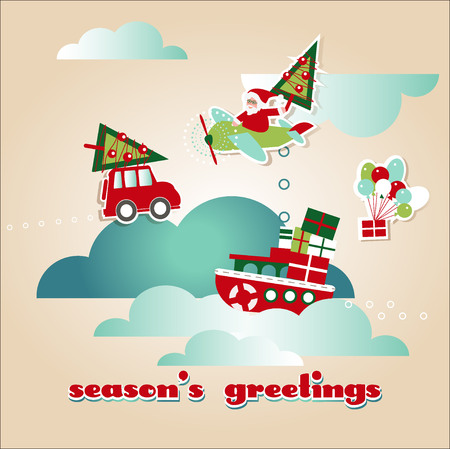 Greeting Christmas and New Year Vector Cards  with Scrap Elements