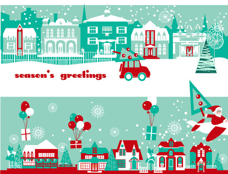 Greeting Christmas and New Year Vector Cards  with Winter Cityscape. Vectores