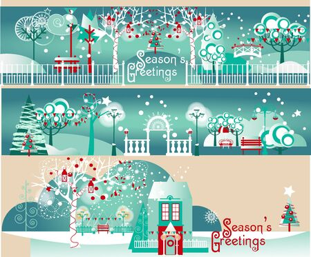 Holiday Decorations and Illuminations for Outdoors, Parks and Gardens. Greetings Banners Set