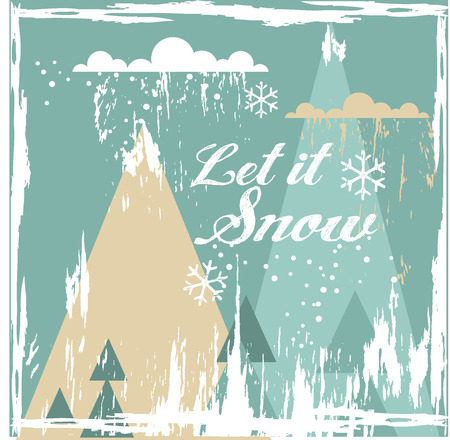 Hand-drawing vector greeting card Let it Snow