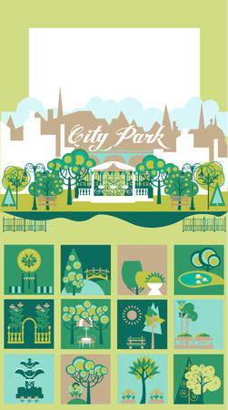 yards: Landscape Design Constructor. City, Parks and Gardens Decoration Elements and Flora Vector Set. Fences, Lightning, Trees, Pavilions, Bridges, Yards, Gardens in Flat . Vector set With 70 Objects.