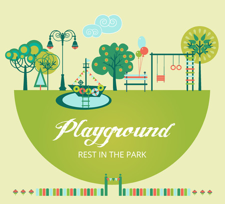 Landscape Design Constructor. City, Parks and Gardens Decoration Elements and Flora Vector Set.