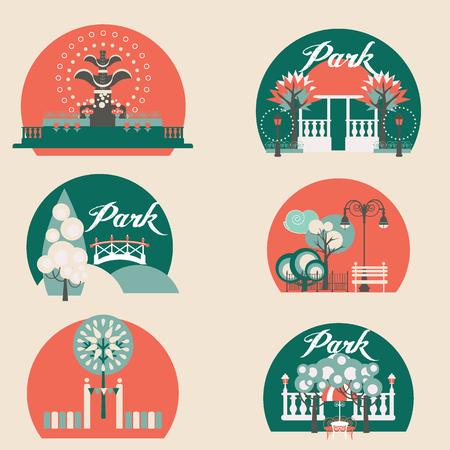 ricreazione: Città Paesaggio parco con padiglione, l'illuminazione, il lago e zone.Bench verde tra gli alberi, area ricreativa. Illustrazione vettoriale.