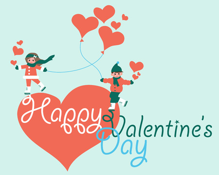 Valentine's Day Greeting Card with skating couple with heart-shaped baloons Vectores
