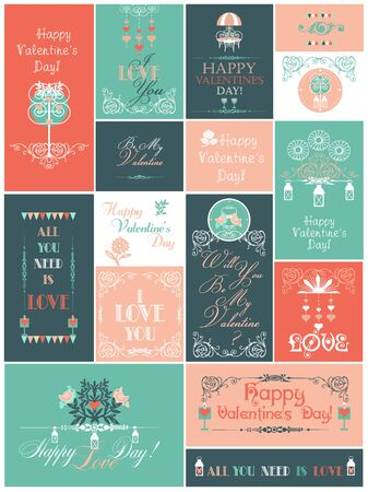 Vector Set with Valentine's Day Cards