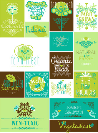 Set of flat vintage Eco icons for organic food and drink Vectores