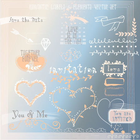 Wedding romantic collection with labels, ribbons, hearts, flowers, arrows, wreaths. Graphic vintage set on watercolor background. Save the Date invitation in vector.