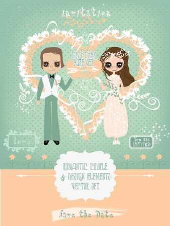Vector Set with Romantic Couple and Design Elements for Wedding or Valentines Card Templates Vectores