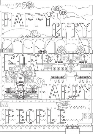 City and Park Coloring Page.