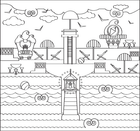 Coloring Book Page with Beach, Lighthouse, sun umbrella, ice cream cafe, sea, sky