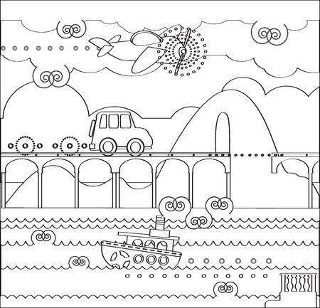 Coloring Page about Travel with Bridge, car, plane, boat, mountain, road, tunel