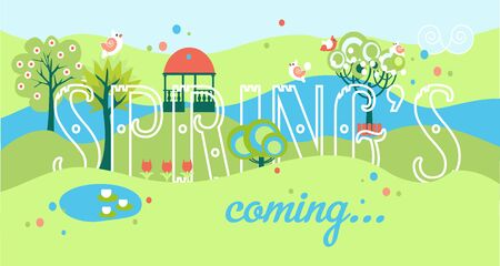 Spring Banner with Park and Letters. Vector illustration Vectores