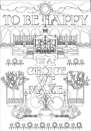 Adult Coloring Page with Inspirational Fraze and Landscape Garden, Flowers, Trees, Fountain