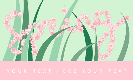 Spring Banner with Floral Letters. Editable Vector Banner for you needs. Vectores