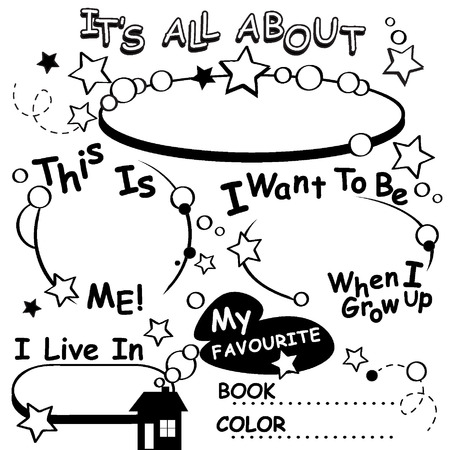 first day of school: Coloring Page All about me. Great for the first day of school, getting to know each other. Illustration