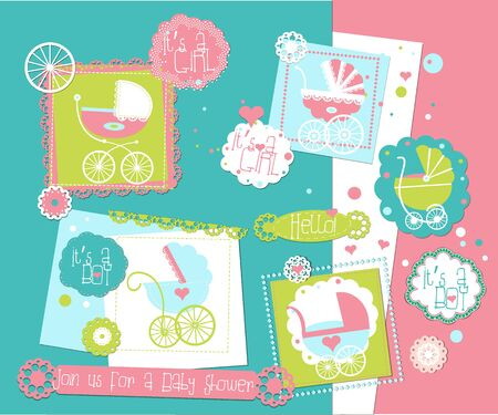 Baby Shower scrap-booking elements set with Prams