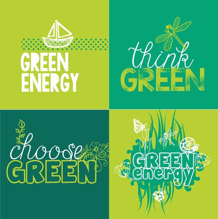 Green Set for ecological projects and conceptions. Choose Green, Think Green, Green energy. Vectores