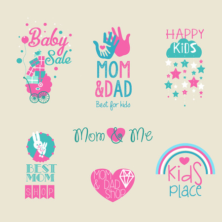 toy shop: Vector collection of cute baby and kid logo.Children toys store symbol. Kids fashion label design. Children clothes brand. Baby and kid store insignia template.