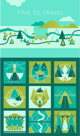 Camping and Travel Infographic set with Icons and other elements. Vector illustration. Vectores