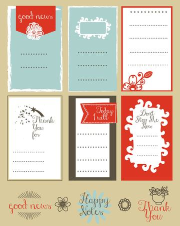 Vector set of journaling card and types for scrapbook and design.