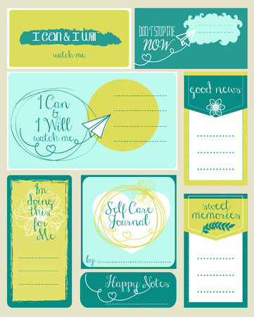 Vector set of journaling card and logotypes for scrapbook and design. Vectores