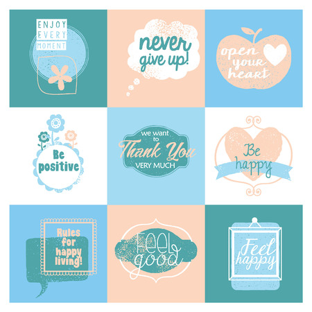 Collection of 9 cards with positive design.