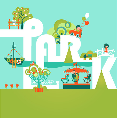 Natural landscape with Word Park in the flat style. Environmentally friendly natural landscape. Vector illustration