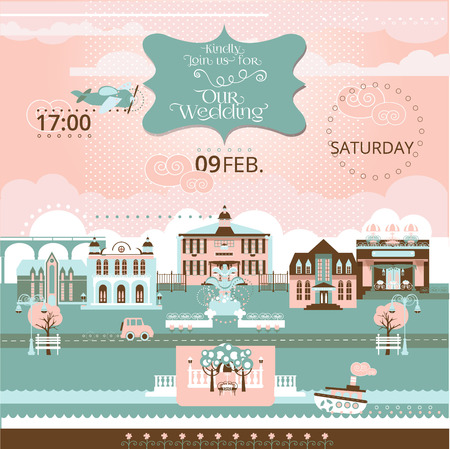 romantic collection with labels, ribbons, hearts, flowers. Save the Date invitation in vector. Vectores