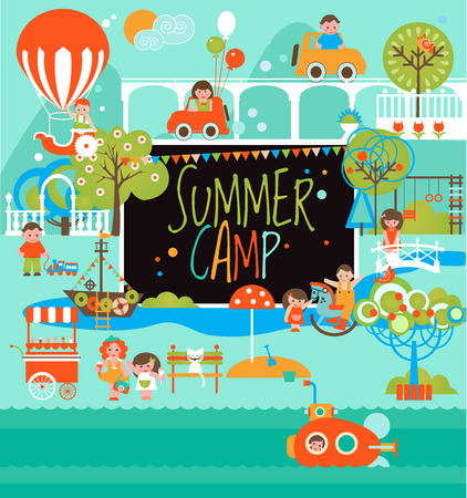 Summer Camp with Kids. Landscape and Playground.