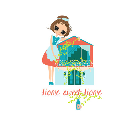 Housewife and House Vector illustration.Home sweet home design. Housewife work cute. Illustration