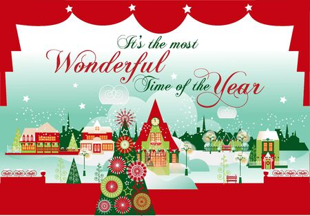 Greeting Christmas and New Year Vector Card or Banner  with Winter Cityscape, Curtain Decoration and Christmas Tree.