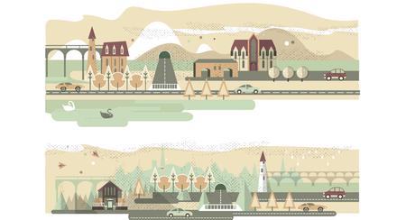 Landscape Design Constructor. City, Parks and Gardens Decoration Elements and Flora  Set. Fences, Lightning, Trees, Pavilions, Bridges, Yards, Gardens in Flat . Foto de archivo